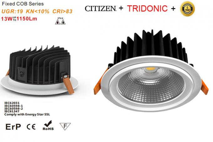 Dimmable AC220-240v 1150lm COB Led Downlight 13w 100lm / W 19 UGR