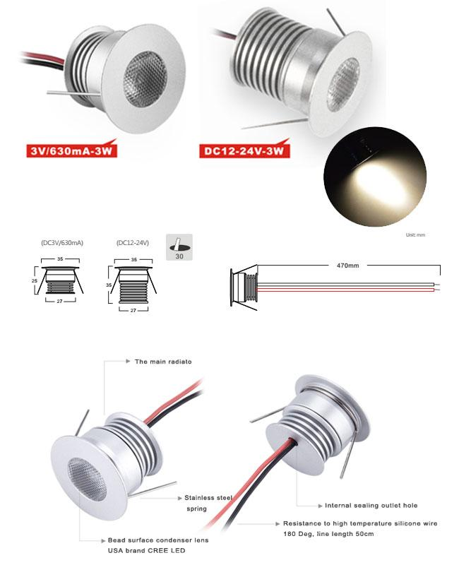IP44 3W Dimmable LED Down Lights Recessed Led Cabinet Lights 250LM DC12-24V